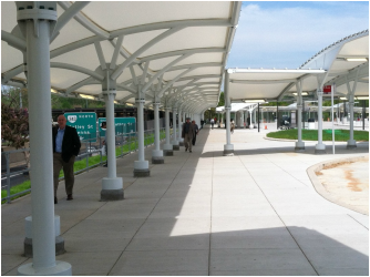 Tensile Fabric Roofs Are Quite Common In Transportation Projects. Covered  Walkways, Auto Dealerships, Ferry Terminals, Departure And Arrival Areas  And Bus ...